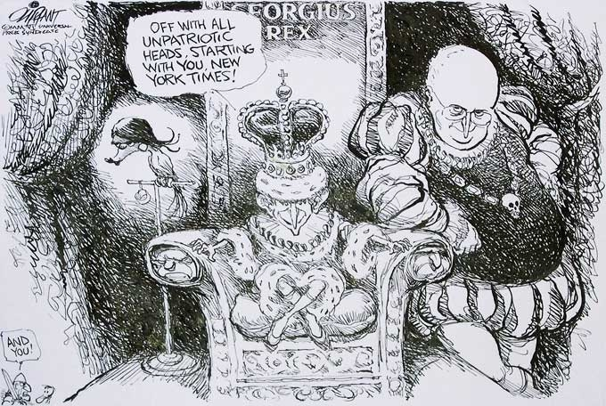 a cartoon of George W. Bush and Dick Cheney by Patrick Oliphant