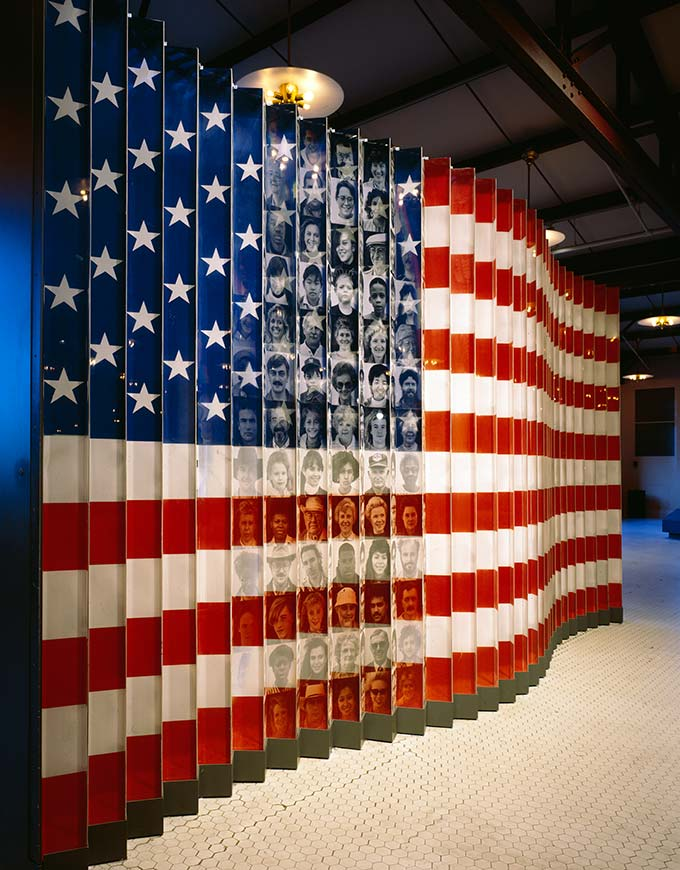 American Flag of Faces Exhibit, Ellis Island, New York