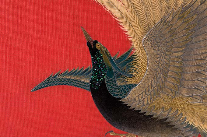 Futagi Seiho, Decorative Box with Bird of Paradise, Gokurakuchō kazari bunko, detail