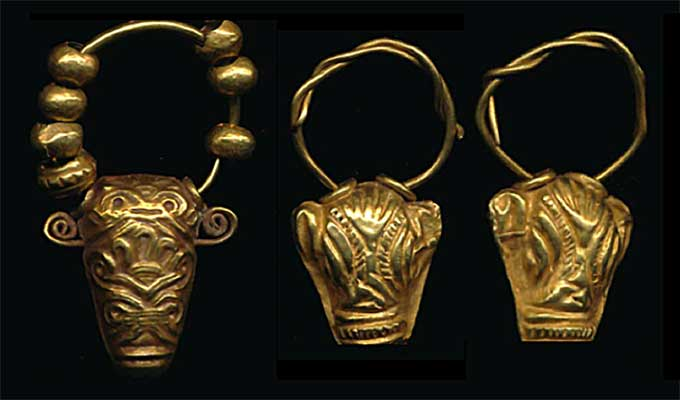 minoan gold bullhead earrings