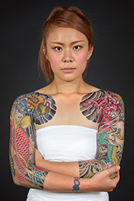 Japanese tattoo, photo by Kip Fulbeck