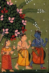 detail of Rama, Lakshmana, and Sita leaving their guru ashram