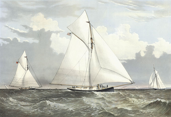 Currier and Ives, Sloop Yachts Mischief and Atalanta