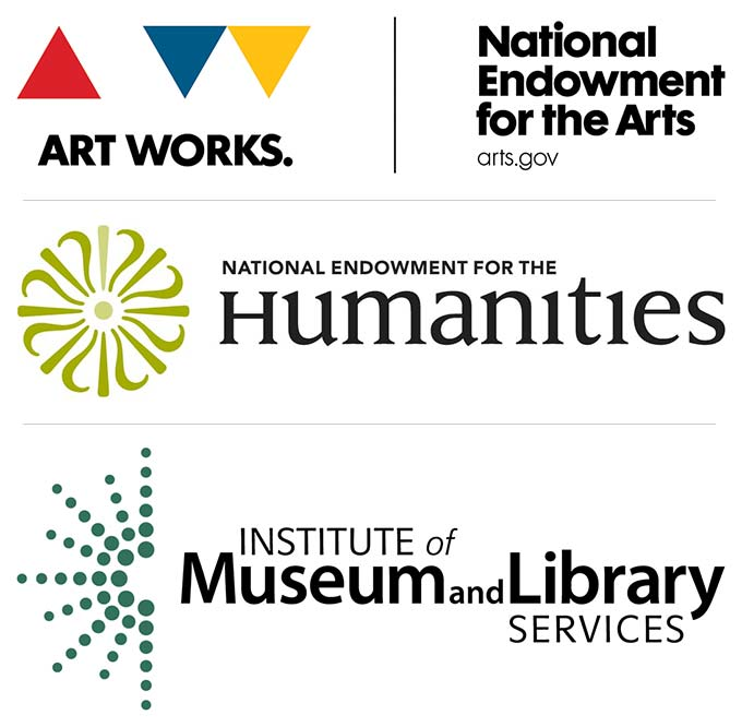 logos for the National Endowment for the Arts, the National Endowment for the Humanities, and the Institute of Museum and Library Services