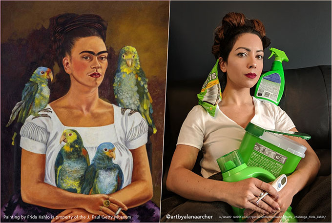 an artwork by Frida Kahlo showing a woman in a white shirt smoking a cigarette with parrots in her lap and on her shoulders along side a reimagined version of the same image shwing a woman in a white shirt with green laundry detergent containers in her lap and on her shoulders