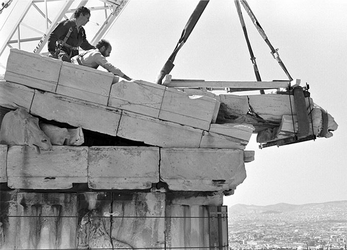 Socratis Mavrommatis, Parthenon, beginning of the restoration works, dismantling of the northeast sima