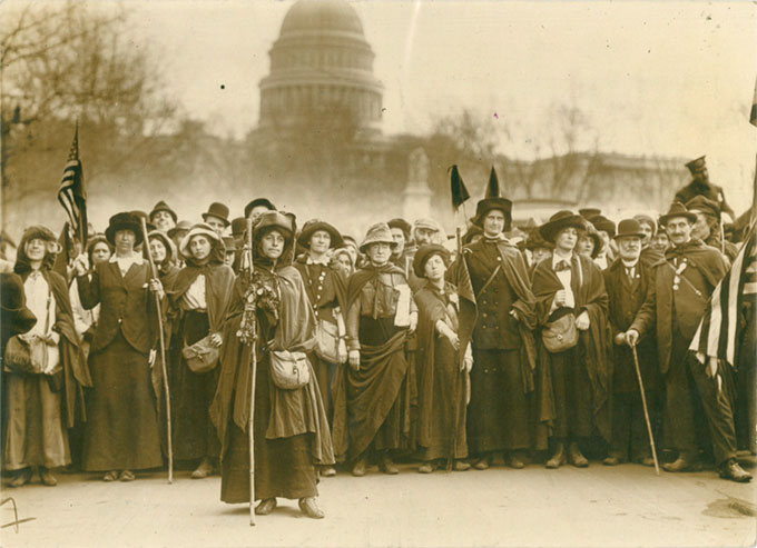 The suffragette hikers led by General Rosalie Jones at the Capitol