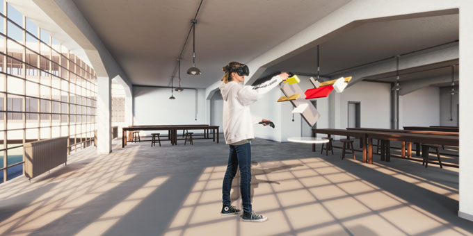 artist rendering of a virtual reality experience in the Bauhaus