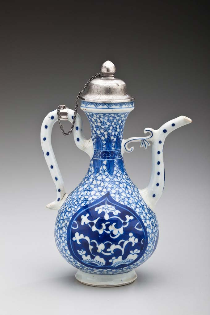 Ewer Imitating a Middle Eastern Metal Form with Lotus Motifs and Silver Tiffany Lid