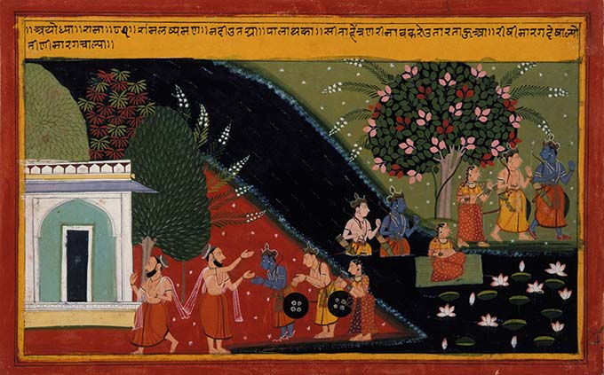 Rama, Lakshmana, and Sita Depart from Their Gurus Ashram in the Forest